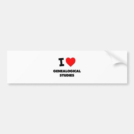 I Love Genealogical Studies Bumper Sticker