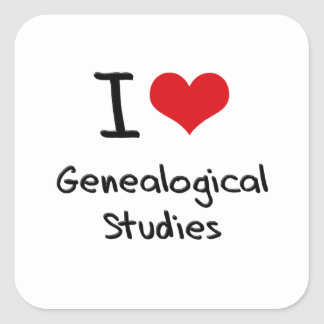 I Love Genealogical Studies Square Stickers
