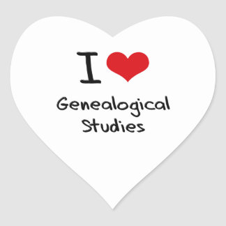 I Love Genealogical Studies Heart Stickers