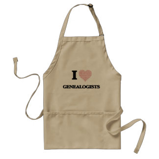 I love Genealogists (Heart made from words) Adult Apron