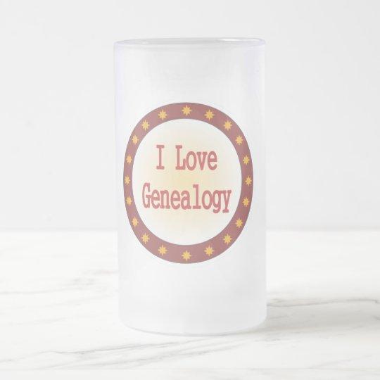 I Love Genealogy Frosted Glass Beer Mug