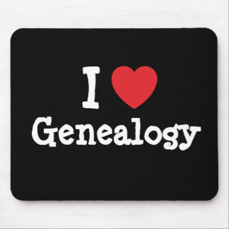 I love Genealogy heart custom personalized Mouse Mats