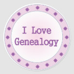 I Love Genealogy Round Sticker