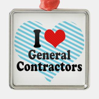 I Love General Contractors Metal Ornament