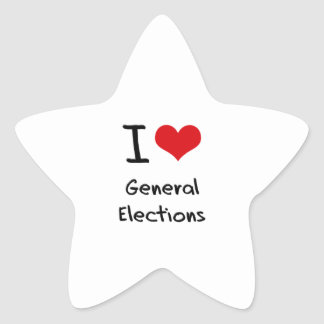 I Love General Elections Star Stickers