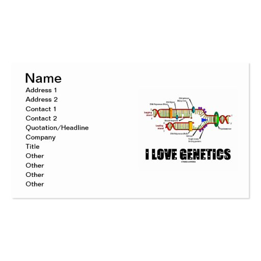 I Love Genetics (DNA Replication) Double-Sided Standard Business Cards (Pack Of 100)