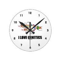 I Love Genetics (DNA Replication) Round Wallclock