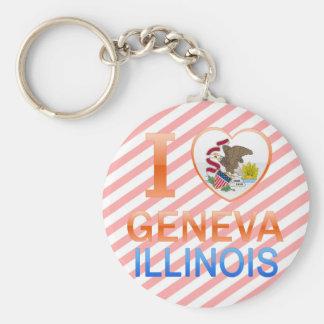 I Love Geneva, IL Basic Round Button Keychain
