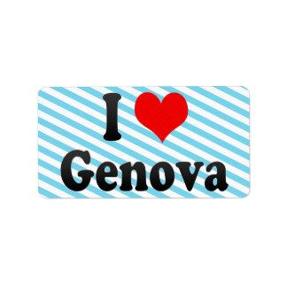I Love Genova, Italy Personalized Address Label