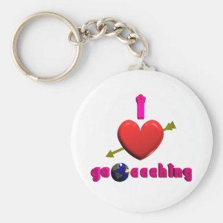 I Love Geocaching 3D art Keychain Geocacher Swag