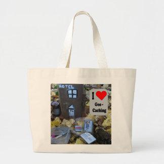 I love Geocaching bag: Fence post hide Large Tote Bag
