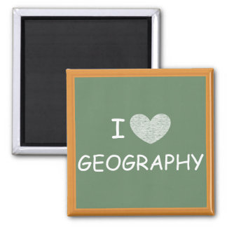 I Love Geography 2 Inch Square Magnet