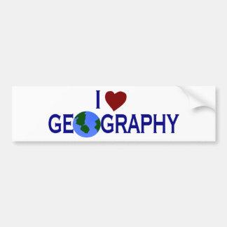 I Love Geography Car Bumper Sticker