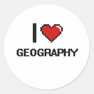 I Love Geography Digital Design Classic Round Sticker
