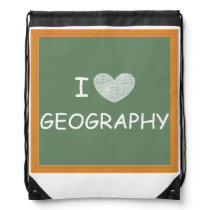 I Love Geography Drawstring Bag