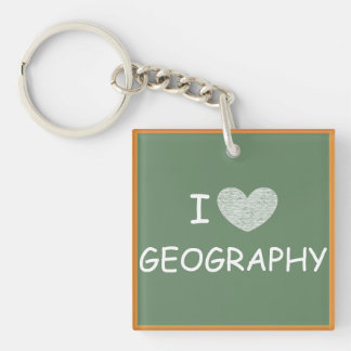 I Love Geography Square Acrylic Keychain