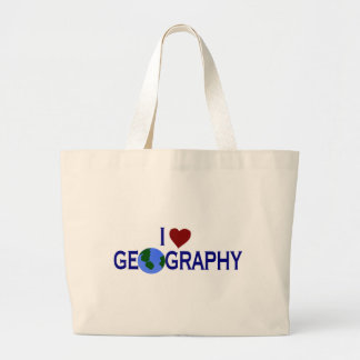 I Love Geography Large Tote Bag