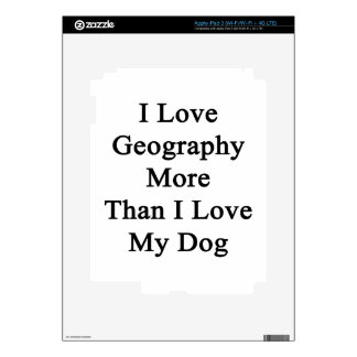 I Love Geography More Than I Love My Dog iPad 3 Decals