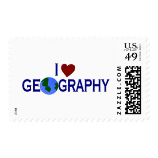 I Love Geography Postage Stamps