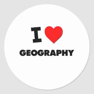 I Love Geography Classic Round Sticker