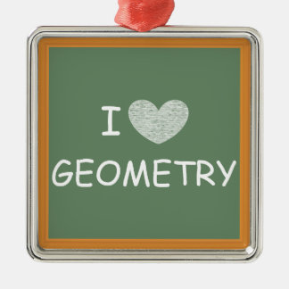 I Love Geometry Metal Ornament