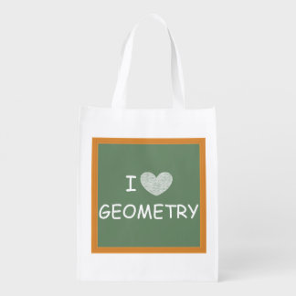 I Love Geometry Grocery Bags