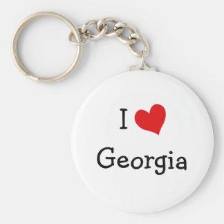 I Love Georgia Basic Round Button Keychain