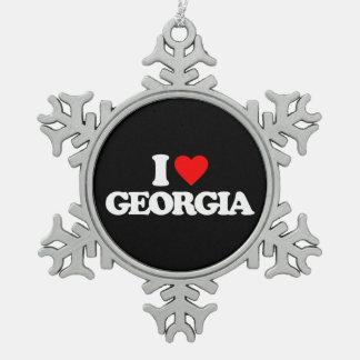 I LOVE GEORGIA SNOWFLAKE PEWTER CHRISTMAS ORNAMENT
