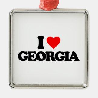 I LOVE GEORGIA SQUARE METAL CHRISTMAS ORNAMENT