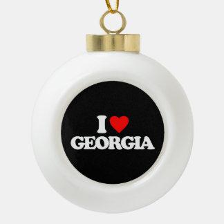 I LOVE GEORGIA CERAMIC BALL CHRISTMAS ORNAMENT