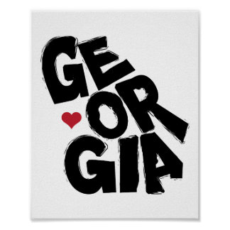 I Love Georgia State Map with Heart Poster