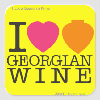 I Love Georgian Wine Yellow Sticker