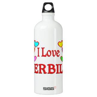 I Love Gerbils Aluminum Water Bottle