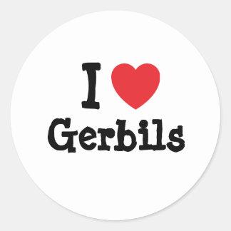 I love Gerbils heart custom personalized Classic Round Sticker