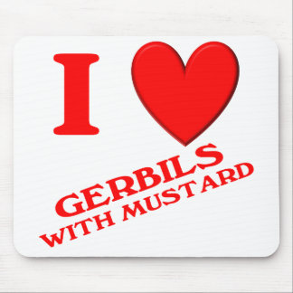I Love Gerbils with Mustard Mouse Pads