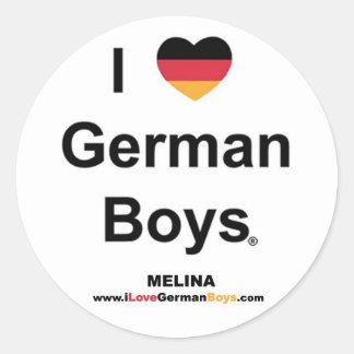 I Love German Boys Classic Round Sticker