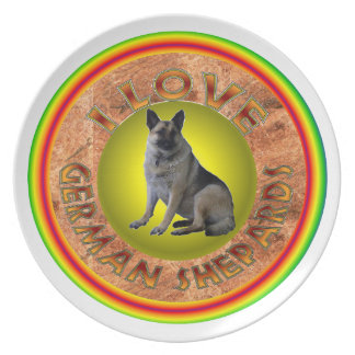 I Love German Shepards Plate. Plates