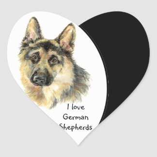 I love German Shepherd Dog, Pet with Heart Heart Sticker