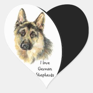 I love German Shepherd Dog, Pet with Heart Heart Sticker