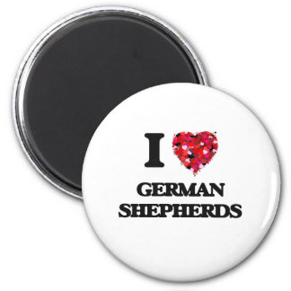 I Love German Shepherds 2 Inch Round Magnet