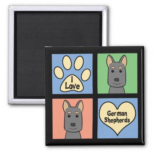 I Love German Shepherds 2 Inch Square Magnet