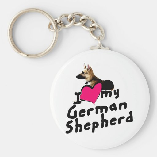 I love German Shepherds! Basic Round Button Keychain