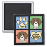 I Love German Shorthaired Pointers 2 Inch Square Magnet
