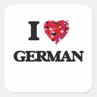 I Love German Square Sticker