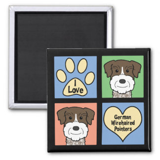 I Love German Wirehaired Pointers 2 Inch Square Magnet