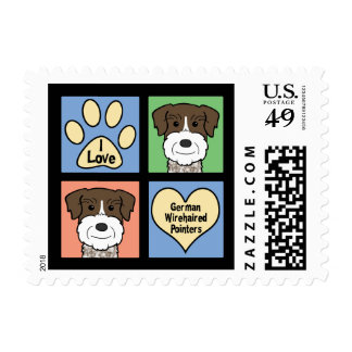 I Love German Wirehaired Pointers Postage Stamps
