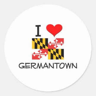 I Love Germantown Maryland Classic Round Sticker
