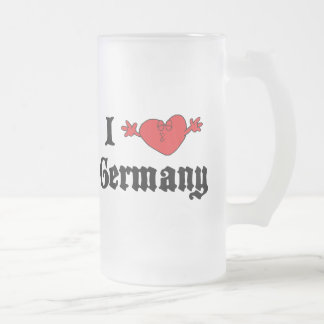 I Love Germany Frosted Glass Beer Mug