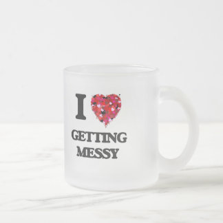 I Love Getting Messy 10 Oz Frosted Glass Coffee Mug
