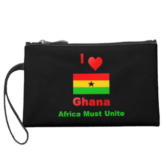 I Love Ghana, Africa Must Unite Suede Wristlet Wallet